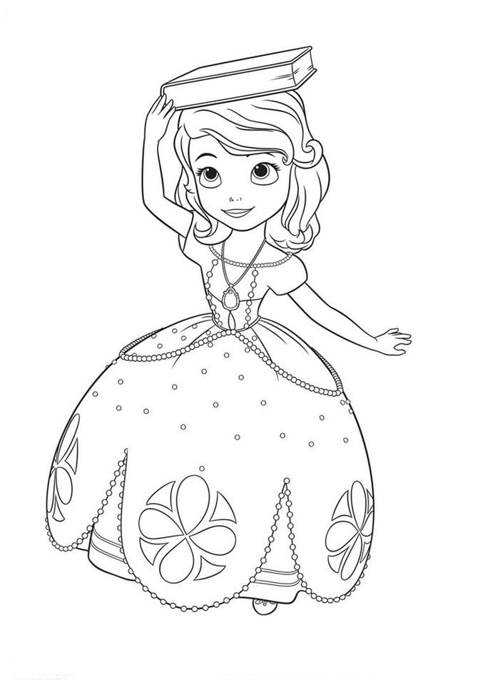 desenho de princesa sofia com livro na cabeça para colorir