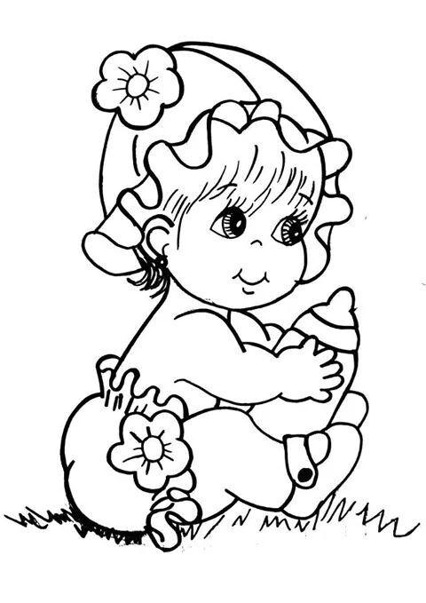 Desenho De Bebe Lindo Segurando Mamadeira Para Colorir Tudodesenhos