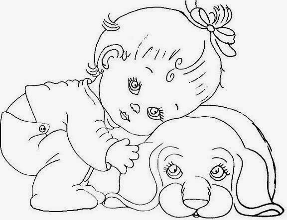 Desenho De Bebezinho Abraçando Cachorrinho Para Colorir
