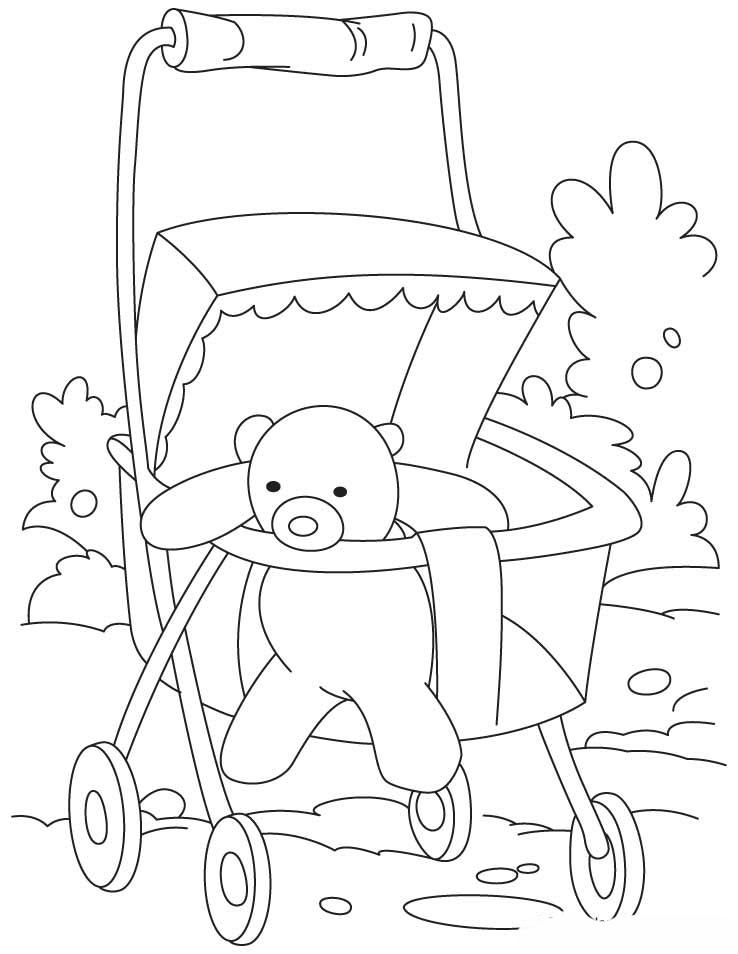 Desenho De Carrinho De Bebê Com Ursinho Para Colorir