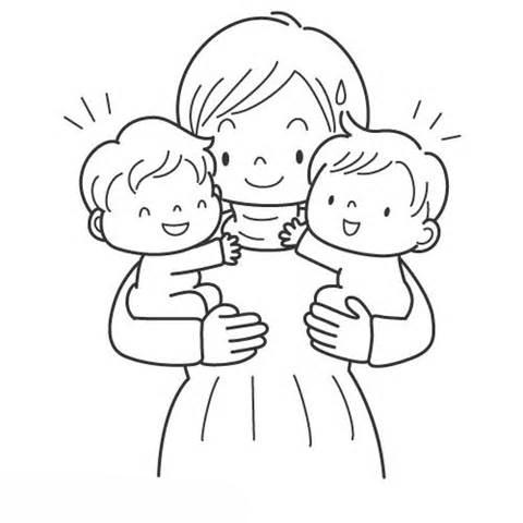 Desenho De Mae Com Bebes Gemeos Para Colorir Tudodesenhos