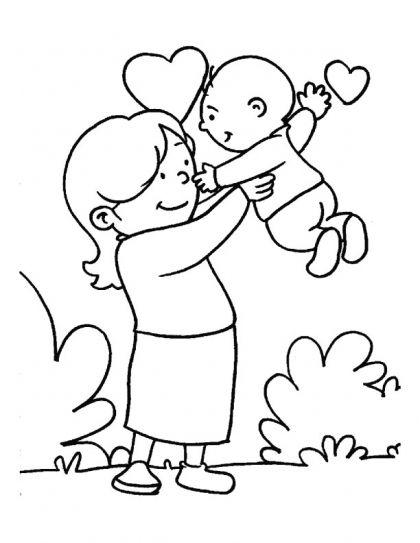 Desenho de mam e com beb para colorir tudodesenhos for Mother s day printable coloring pages for grandma