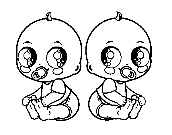 Dibujos Animados De Bebes Para Colorear: Desenho De Meninos Bebês Gêmeos Para Colorir