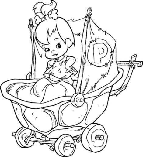 Desenho de pedrita no carrinho de beb para colorir - Poussette dessin ...