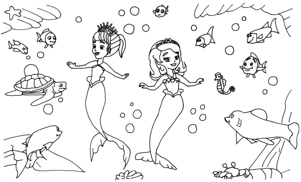 Desenho De Princesa Sofia E Amber Sereias Para Colorir