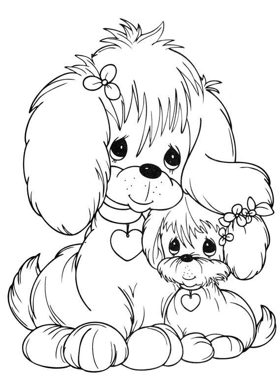 desenho de momentos preciosos cachorrinhos fofinhos para colorir