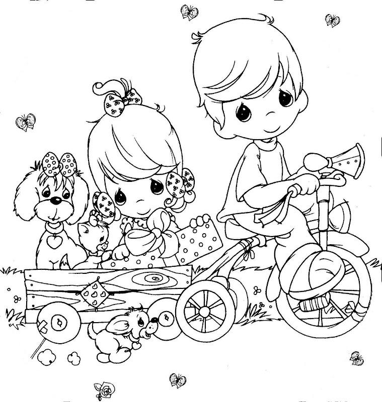 Desenho de Momentos Preciosos - Passeio no triciclo para ...
