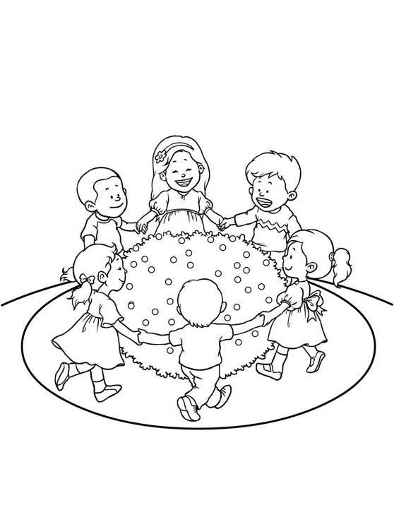 Desenho De Criancas Brincando De Roda Para Colorir Tudodesenhos