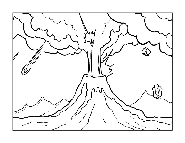 desenho de lavas do vulc u00e3o em chamas para colorir