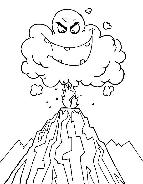 Desenho de vulc o em erup o para colorir tudodesenhos - Volcan coloriage ...