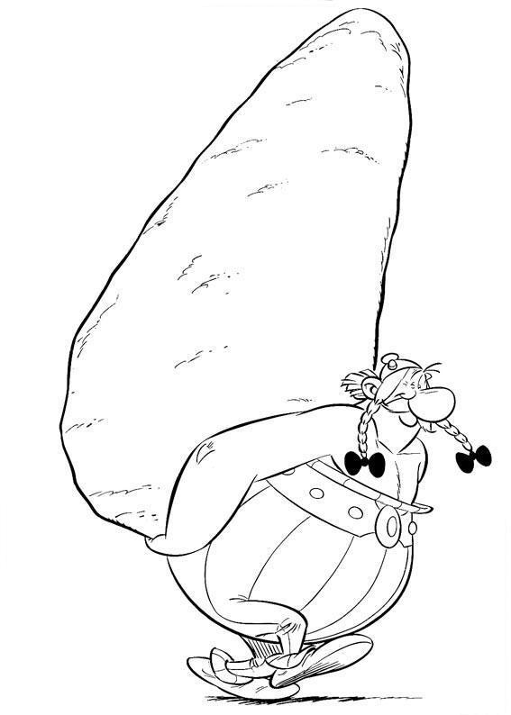 Desenho De Obelix Carregando Pedra Para Colorir Tudodesenhos