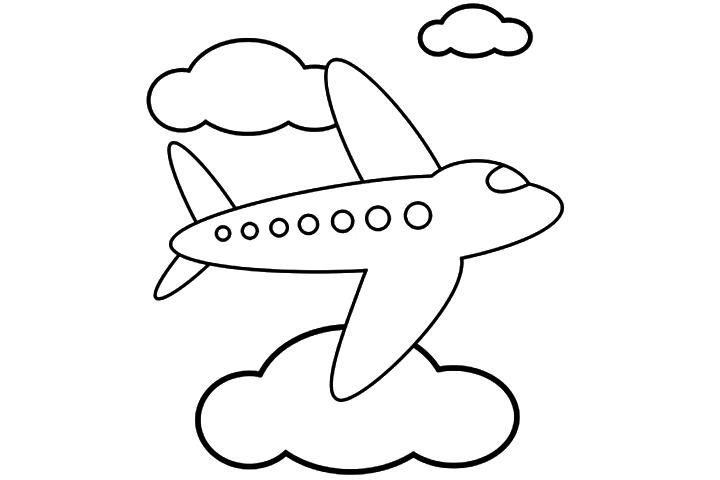 Desenho De Avião Entre Nuvens Para Colorir