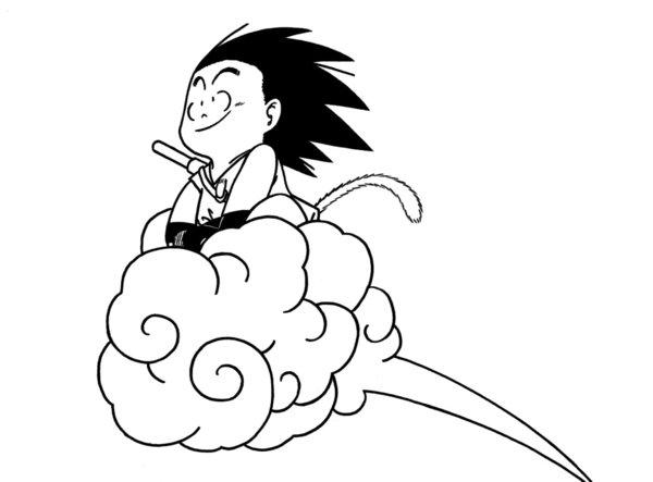 Goku Pequeño Para Colorear: Desenho De Dragon Ball Z Na Nuvem Para Colorir