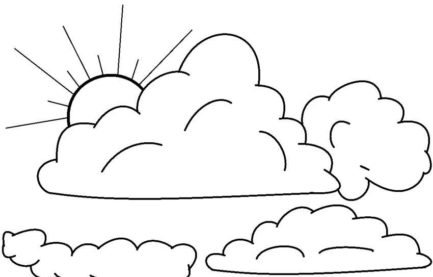 desenho de nuvens e sol para colorir tudodesenhos
