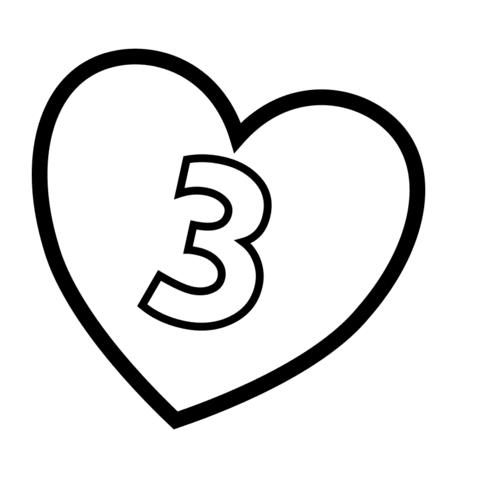 Desenho de Número 3 de coração para colorir - Tudodesenhos Letter C In Heart Wallpaper