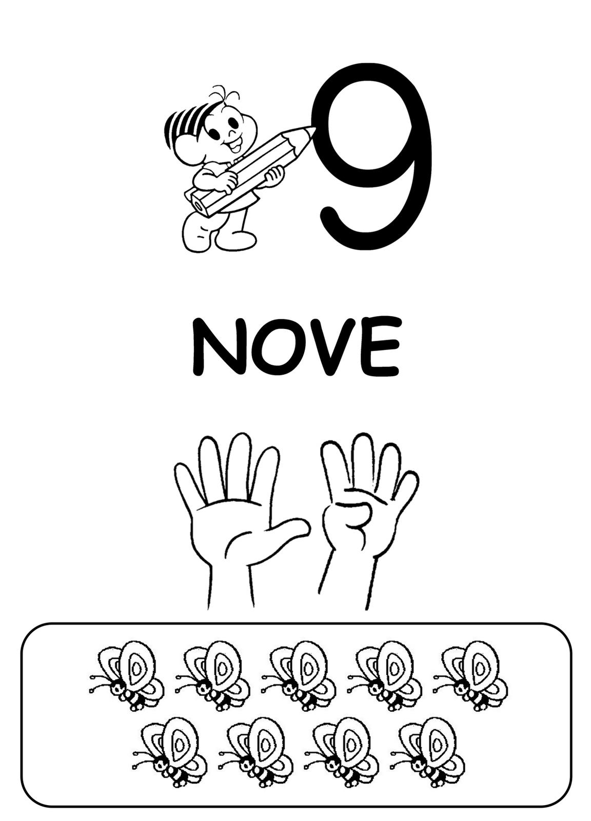 Desenho De Numero 9 E Letras Para Colorir Tudodesenhos