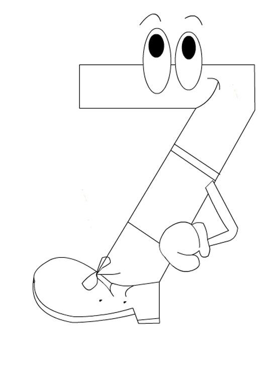 Desenho De Numero 7 Cursivo Para Colorir Tudodesenhos